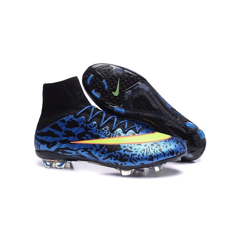 new concept 66972 47752 Scarpe calcio Nuove Nike Mercurial Superfly FG Leopardo Blu Volt Nero