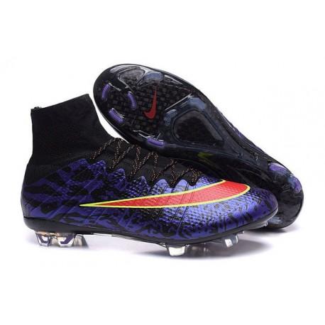 2015 Scarpini Calcio Nike Mercurial Superfly FG Leopardo Nero Rosso Viola