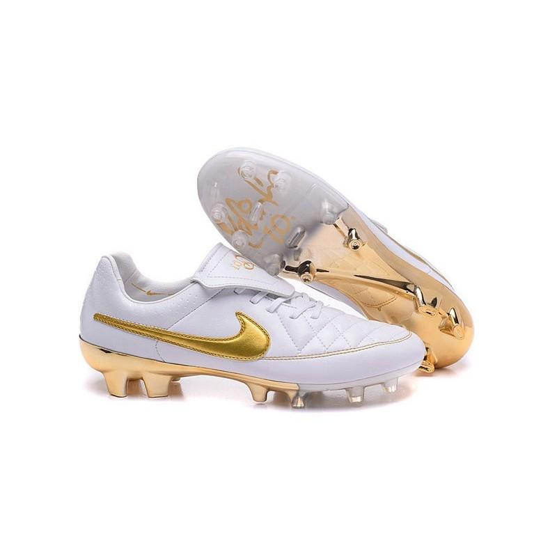 online store 86b4e abb8e Scarpe da Calcio Nike Scarpe Nike Tiempo Genio FG Terreni Compatti R10  Bianco Oro