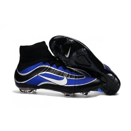 Scarpe calcio Nuove Nike Mercurial Superfly Heritage FG Blu Nero Argenteo Bianco