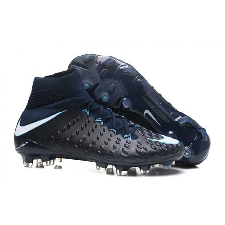 Nuovo Nike Hypervenom Phantom III DF FG Scarpa Calcio Blu Nero Bianco