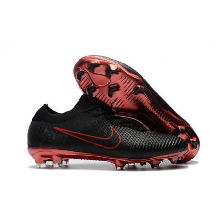 Nuovo Scarpe da calcio - Nike Mercurial Vapor Flyknit Ultra FG Rosso Nero