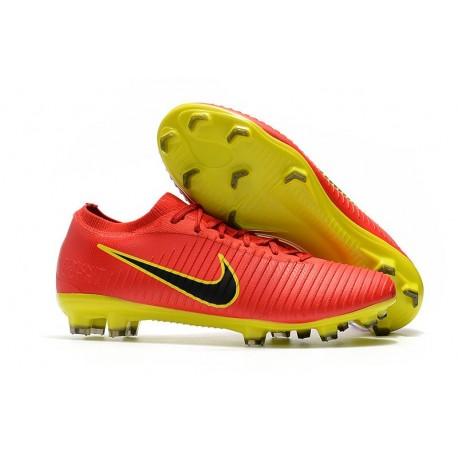 Nuovo Scarpe da calcio - Nike Mercurial Vapor Flyknit Ultra FG Rosso Giallo Nero