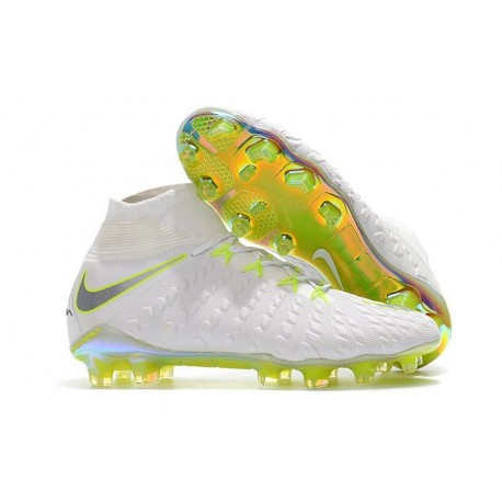 Nuovo Nike Hypervenom Phantom III Elite DF FG Scarpa Calcio Bianco Grigio Metallic Volt
