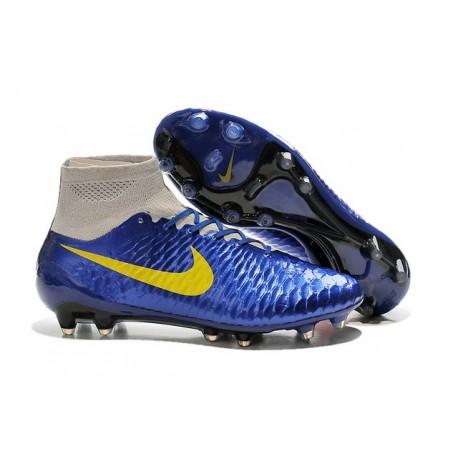 Scarpe Da Calcio Nike - Scarpe Nike Magista Obra Fg - Terreni Compatti - Blu Giallo Grigio