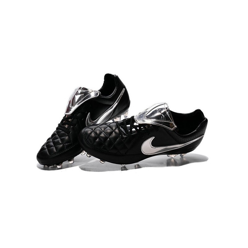 Da Scarpe Genio Calcio Pelle Tiempo Nike Nero Argenteo kXZuwPilOT