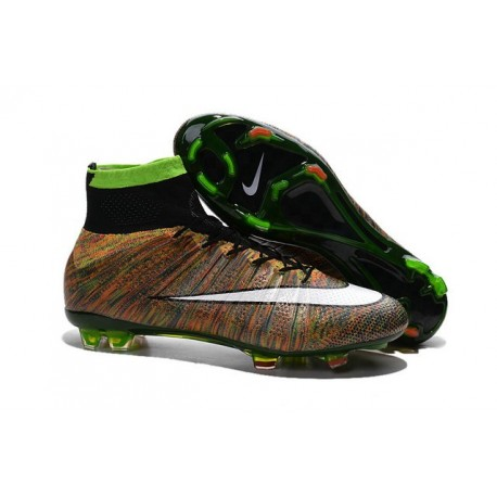 Scarpe calcio Nuove Nike Mercurial Superfly FG Verde Nero Bianco Multicolore