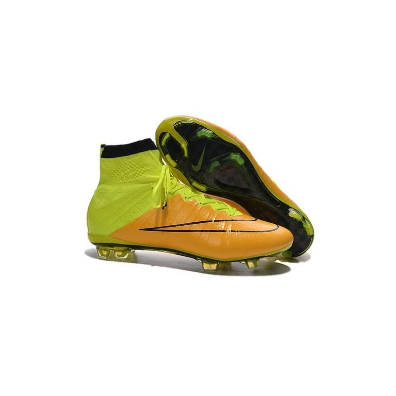 Mercurial Fg Calcio Pelle Volt 2015 Nike Nero Giallo Scarpini Superfly EH9ID2