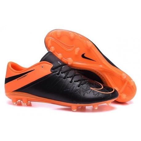 Nike Hypervenom Phinish Pelle FG Scarpe Sportive Uomo Nero Arancione Totale