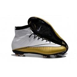 Scarpe calcio Nuove Nike Mercurial Superfly FG CR 501 Cleats Bianco Oro Nero