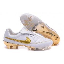 Scarpe da Calcio Nike Scarpe Nike Tiempo Genio FG Terreni Compatti R10 Bianco Oro