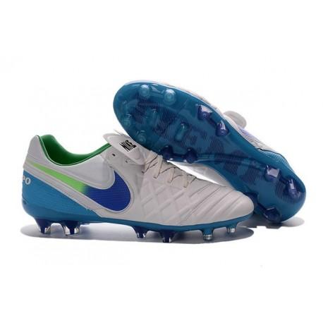 2016 Scarpe Calcio Tiempo Legend 6 Genio Leather FG Bianco Blu Verde