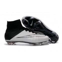 Scarpe calcio Nuove Nike Mercurial Superfly FG Pelle Bianco Nero