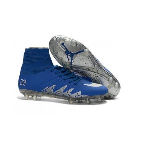 Nuovo Tacchetti Nike HyperVenom Phantom 2 FG Neymar x Jordan Blu Argenteo