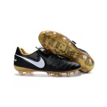 Scarpe Calcio Nike Tiempo Legend VI FG Nero Bianco Oro