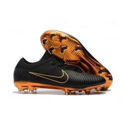 Nuovo Scarpe da calcio - Nike Mercurial Vapor Flyknit Ultra FG Oro Nero