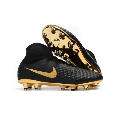2018 Scarpe da Calcio Nike Alte -  Magista Obra 2 FG Oro Nero