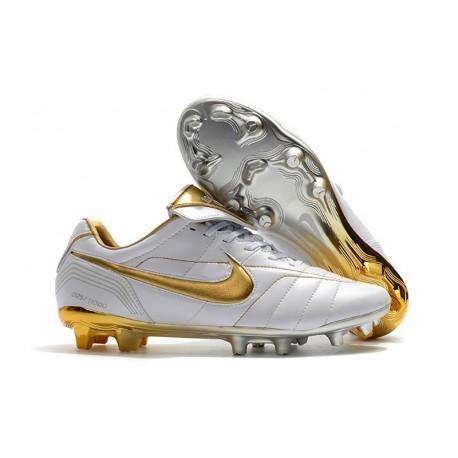 Scarpe Da Calcio Nike Tiempo Legend VII 10R Elite FG Bianco Oro