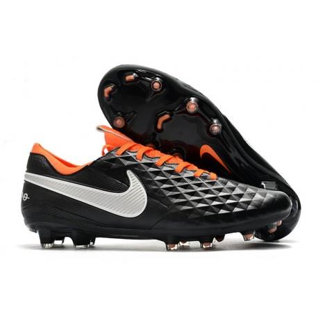 Scarpe Nuovo Nike Tiempo Legend 8 Elite FG Nero Bianco Arancione