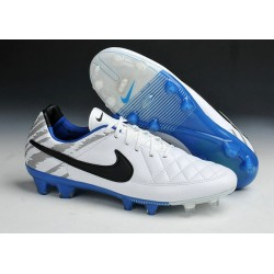 Scarpe da Calcio Nike Scarpe Nike Tiempo Genio Pelle FG Terreni Compatti Bianco Blu Nero