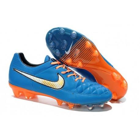 Nike Scarpe Nike Tiempo Legend V FG Terreni Compatti Blu Arancione Bianco
