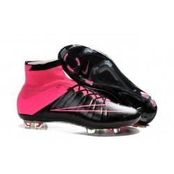 Scarpe Da Calcio Nike Mercurial Superfly Fg Uomo Pelle Hyper Rosa Nero